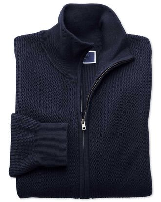 Navy pima cotton textured zip through cardigan