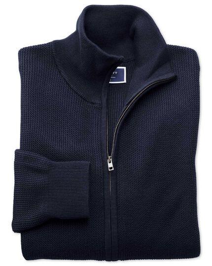 Navy pima cotton textured zip through cardigan