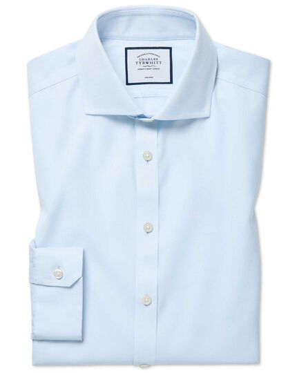 Super slim fit cutaway non-iron cotton stretch Oxford light blue shirt