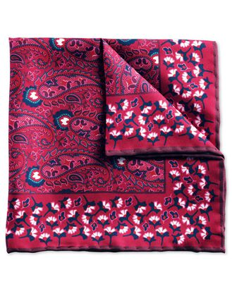 Red classic ornate paisley pocket square
