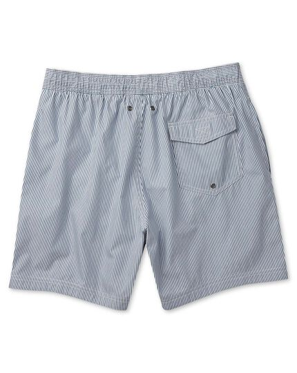 Washed navy and white stripe swim shorts