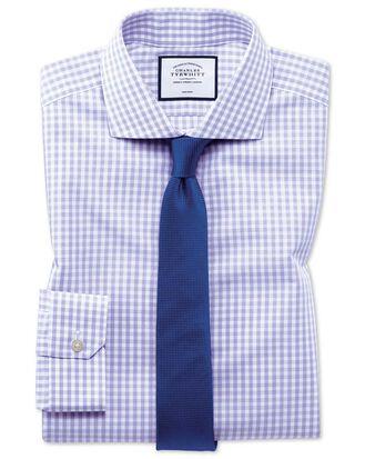 Super slim fit non-iron Tyrwhitt Cool poplin purple check shirt