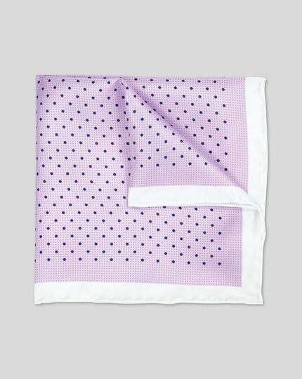 Classic Printed Spot Pocket Square - Lilac & Navy
