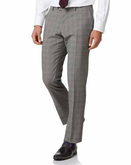 Grey Price of Wales slim fit Panama business suit trouser