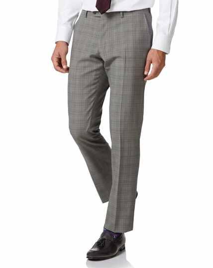 Businessanzug-Hose Slim Fit Panamagewebe mit Prince-of-Wales-Karos in Grau