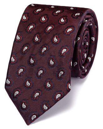 Slim burgundy silk paisley luxury tie