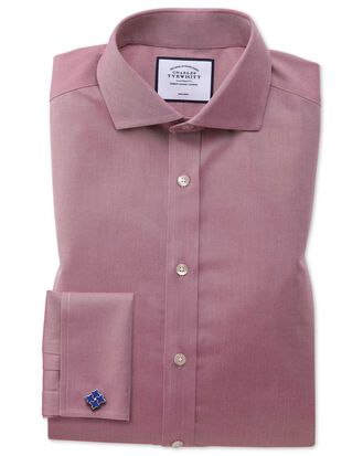 Extra slim fit non-iron spread collar red twill shirt