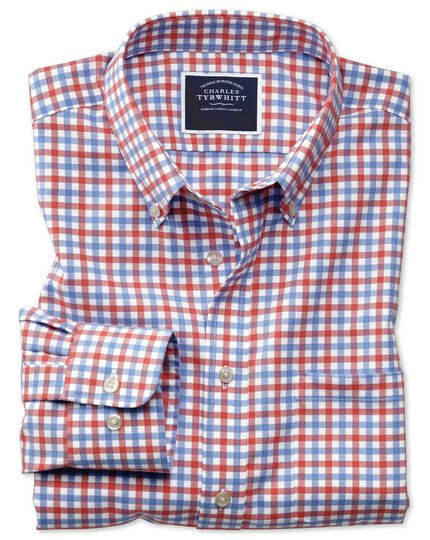 Classic fit button-down non-iron twill red and sky blue gingham shirt