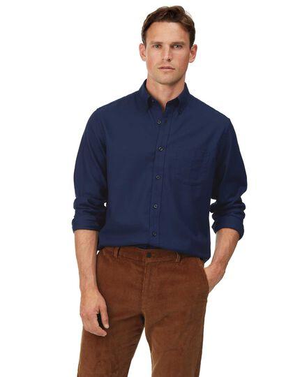 Slim fit dark blue soft wash non-iron twill plain shirt