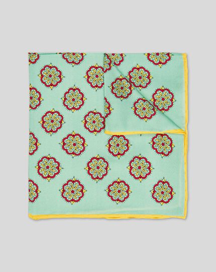 Medallion Print Pocket Square - Light Green