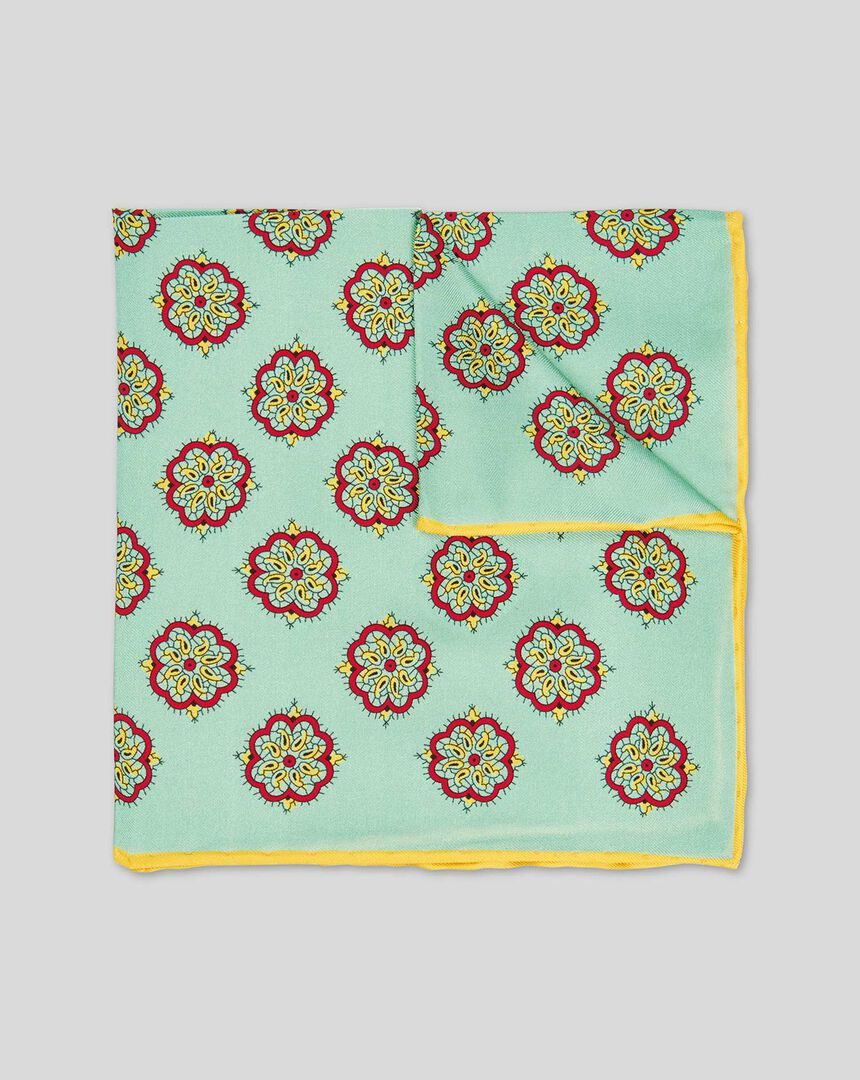 Medallion Print Pocket Square - Light Green
