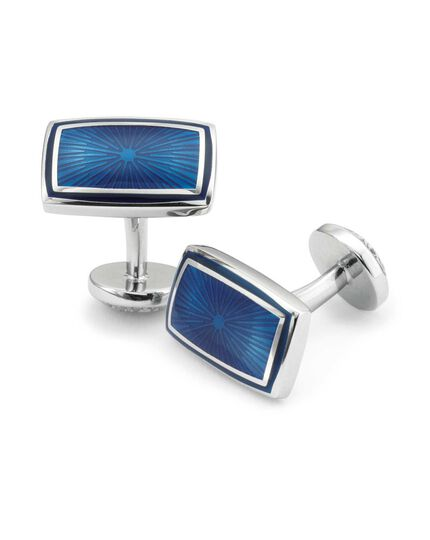 Navy enamel textured rectangle cufflinks