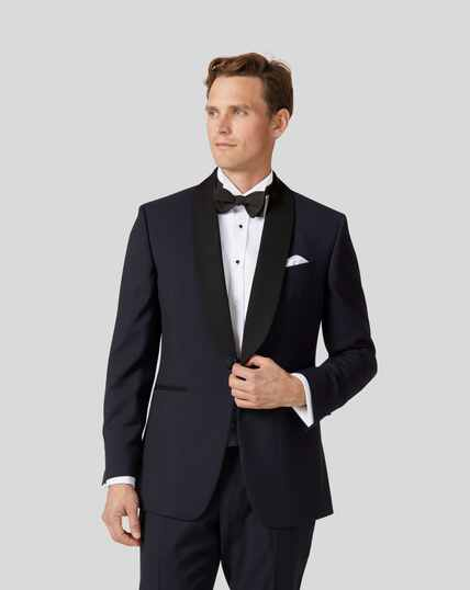 Shawl Collar Tuxedo Jacket - Midnight Blue