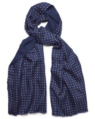 Navy spot printed silk scarf