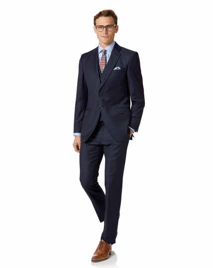 Navy slim fit twill Italian luxury suit jacket