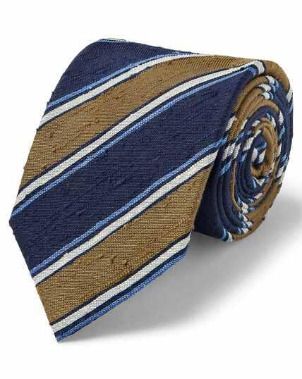 Olive silk slub stripe English luxury tie