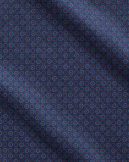 Classic fit semi-spread collar business casual hoop print navy blue multi shirt