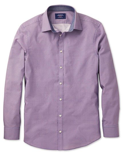 Classic fit magenta and blue print shirt