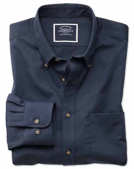 Slim fit button-down non-iron twill navy shirt