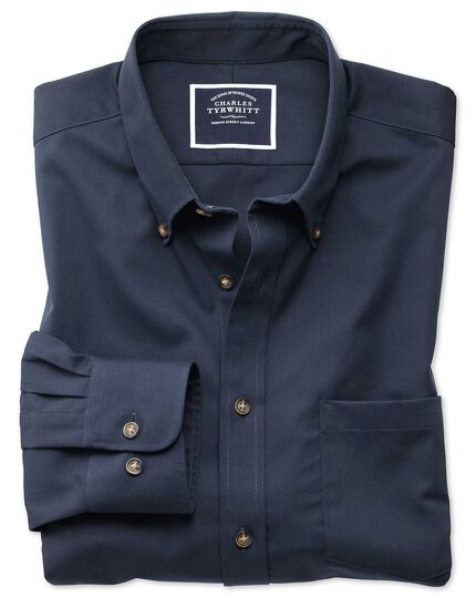 Slim fit non-iron button down collar navy twill shirt