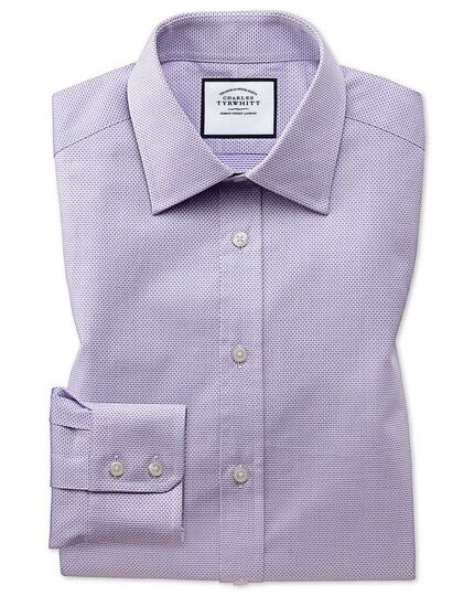 Extra slim fit lilac cube weave Egyptian cotton shirt