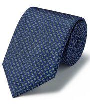 Navy silk mini paisley printed classic tie