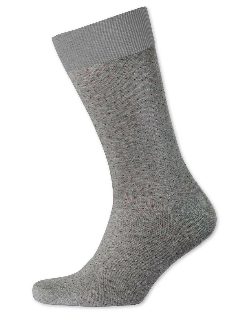 Socken in Grau und Burgunderrot mit Mikro-Strich
