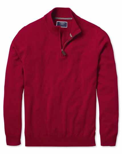 Red zip neck cashmere jumper