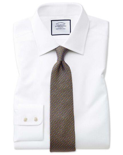 Chemise blanche en coton égyptien avec armure à carrés coupe droite