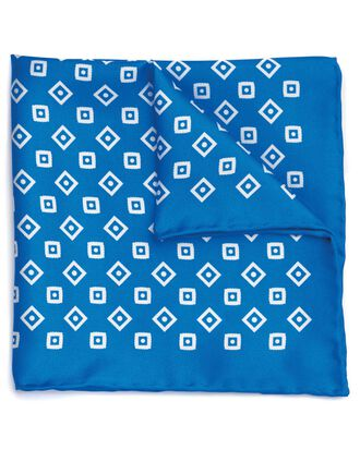 Royal blue and white silk geometric print pocket square