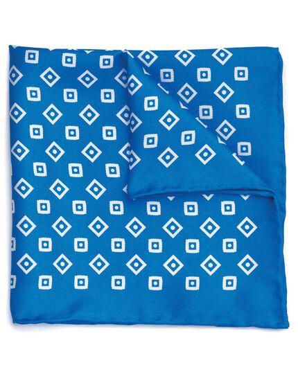 Pochette de costume bleu roi et blanche en soie à imprimé géométrique