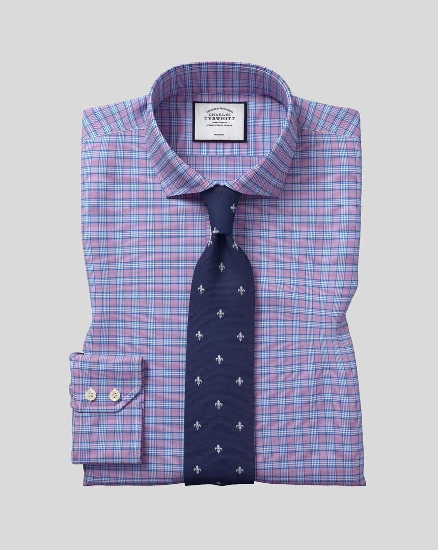 Bügelfreies kariertes Prince-of-Wales-Hemd mit Haifischkragen - Violett & Blau