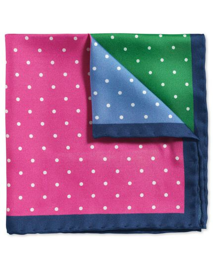 Bright multi classic printed spot quarter pocket square