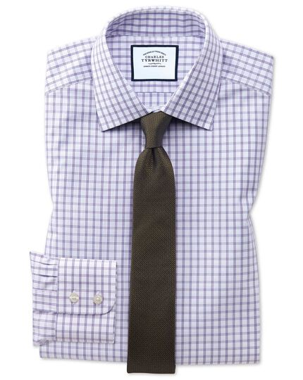 Extra slim fit purple windowpane check shirt
