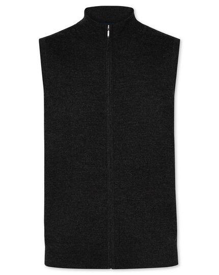 Dark charcoal merino zip through vest