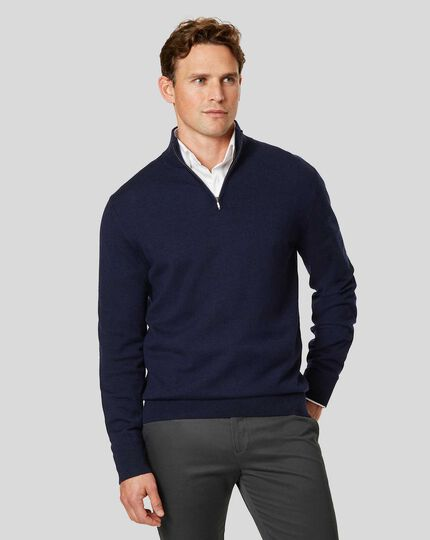 Merino Zip Neck Sweater - Navy