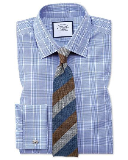 Slim fit non-iron Prince of Wales mid blue shirt