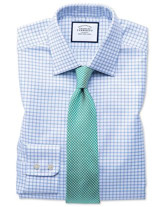 Slim fit Egyptian cotton royal Oxford sky blue check shirt