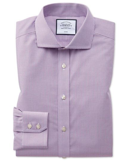 Slim fit spread collar non-iron pink check natural cool pink check shirt