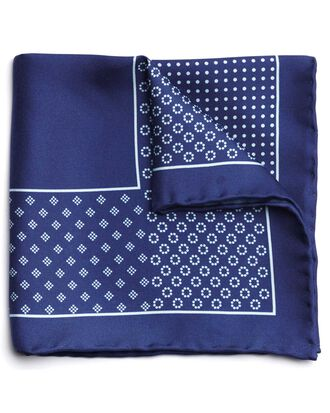 Navy silk geometric printed pocket square