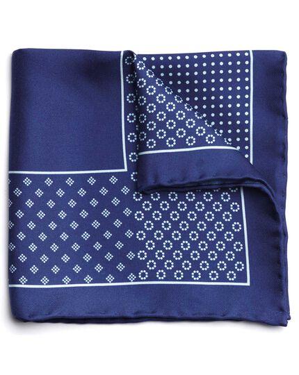 Navy silk geometric printed pocket square
