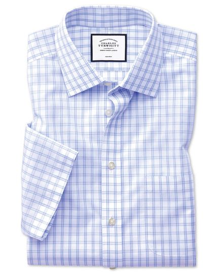 Slim fit non-iron natural cool short sleeve sky blue check shirt