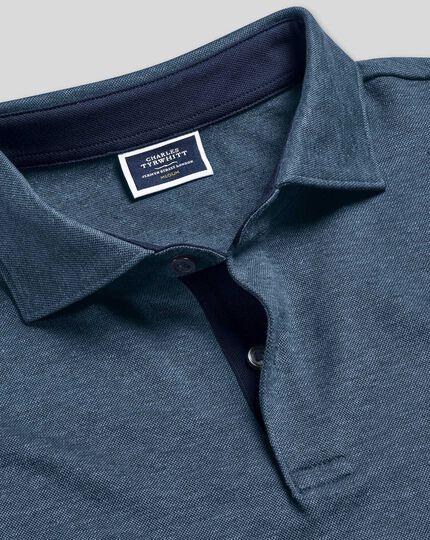 Polo aus Baumwoll-Hanf-Mix - Marineblau