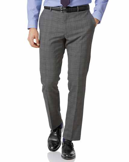 Light grey check slim fit twist business suit trouser