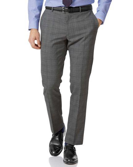 Light grey check slim fit twist business suit pants