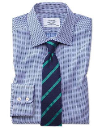 Slim fit Egyptian cotton diamond spot navy blue shirt