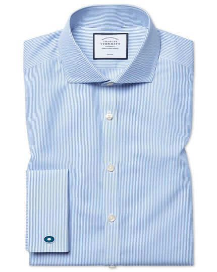 Super slim fit non-iron sky blue Bengal stripe shirt