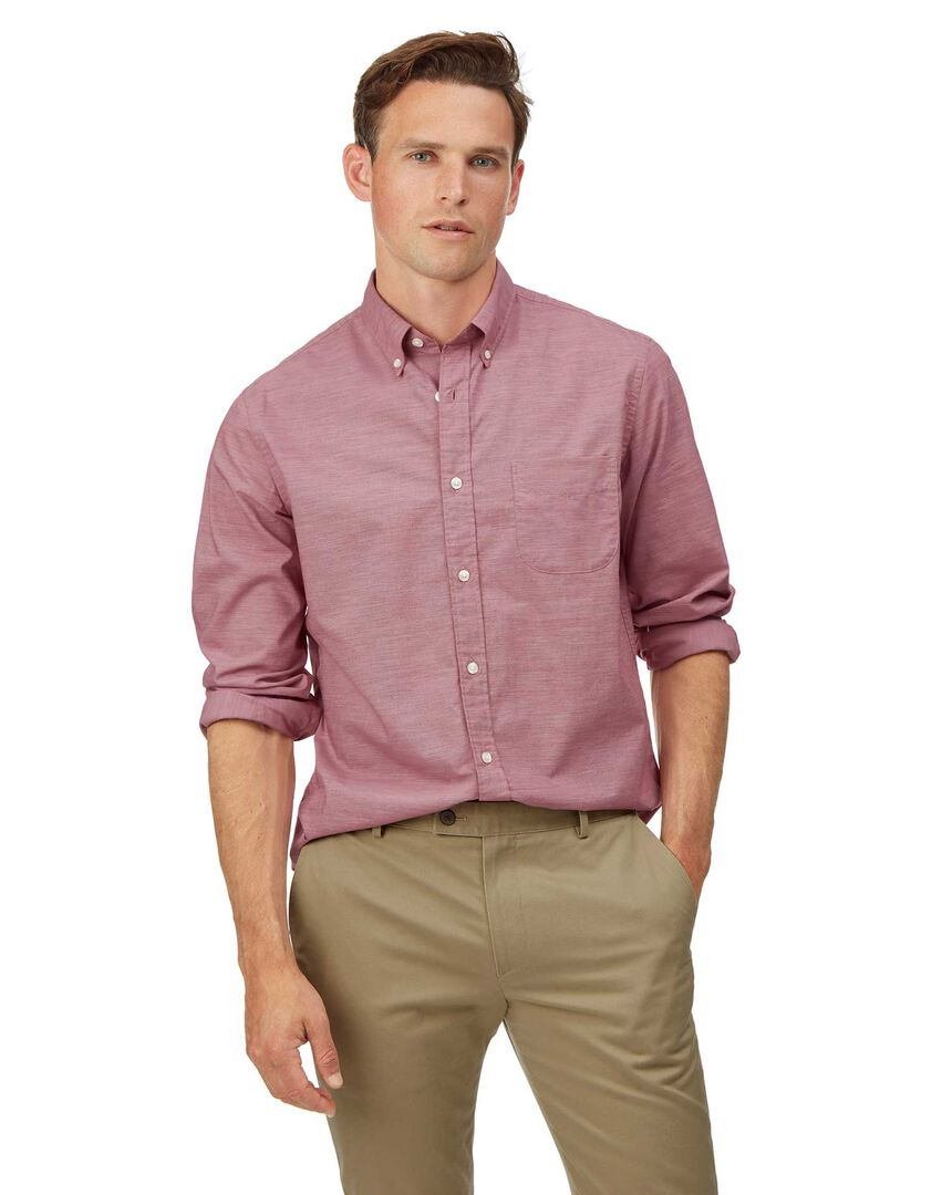 Soft Washed Stretch Poplin Shirt - Red