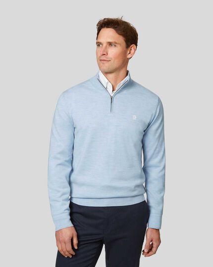 England Rugby Merino Zip Neck Sweater - Sky
