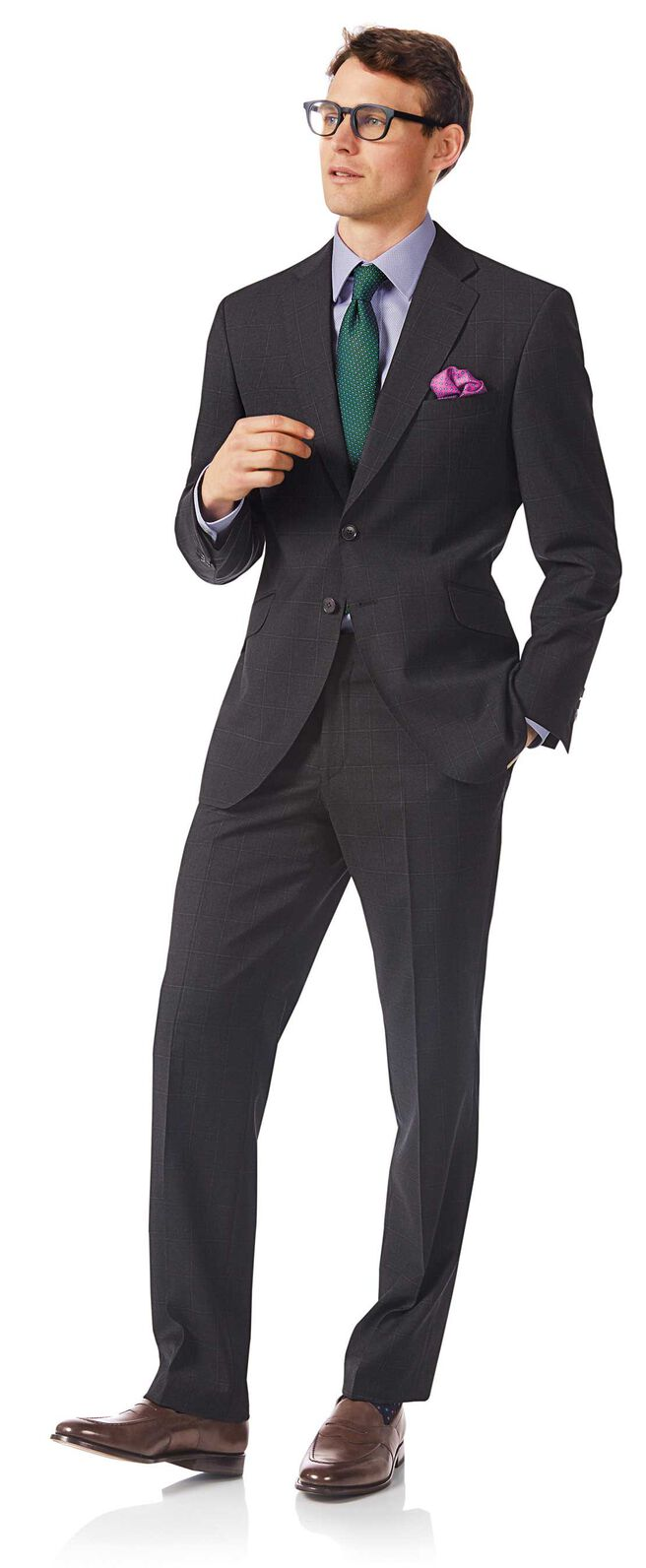 Costume gris en tissu italien coupe droite à carreaux